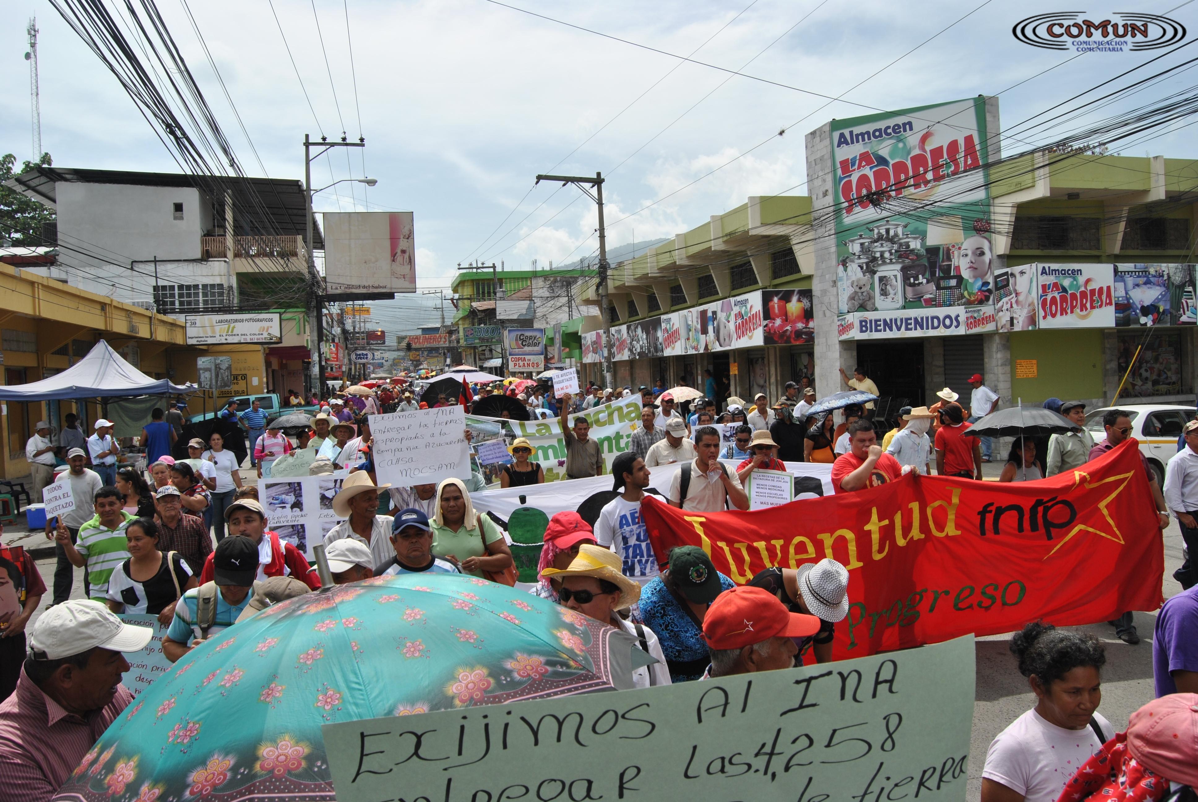 FNRP se manifiesta en El Progreso en repudio al gobierno de JOH