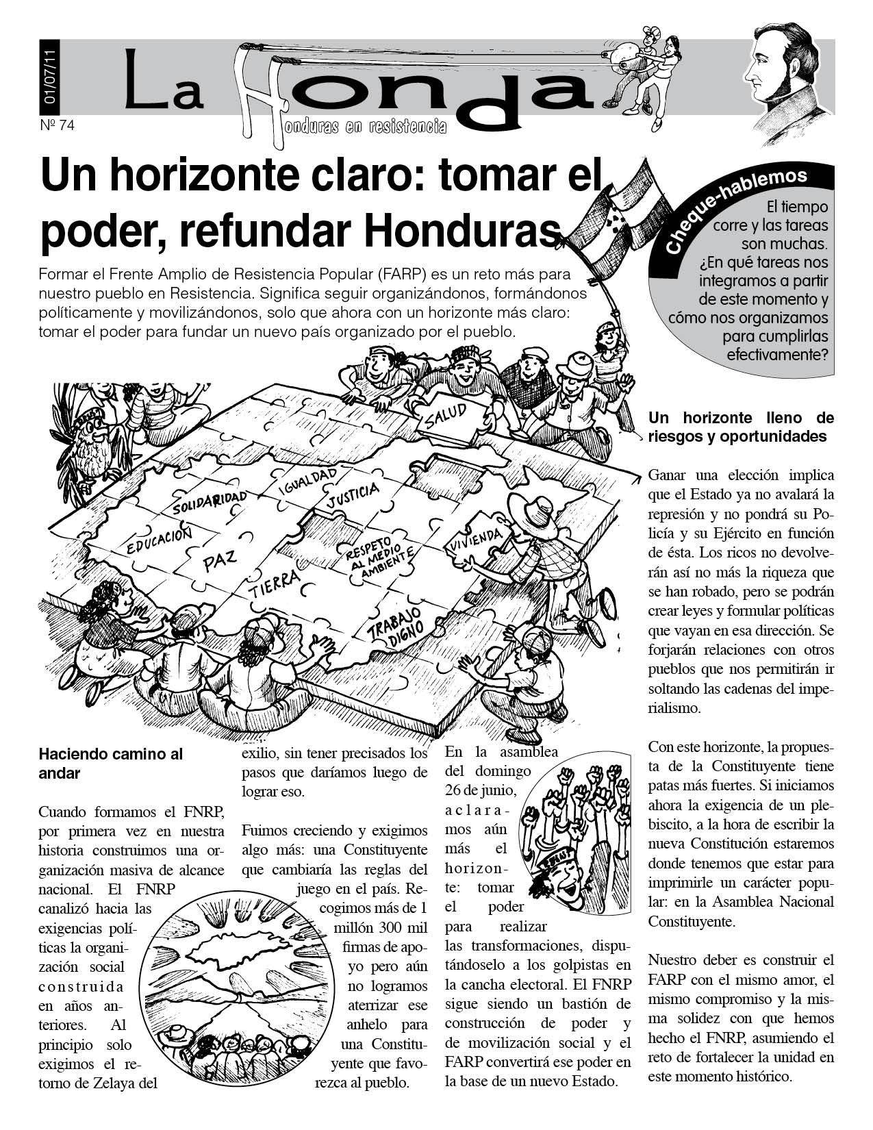 La Honda 74: Un horizonte claro: tomar el poder, refundar Honduras