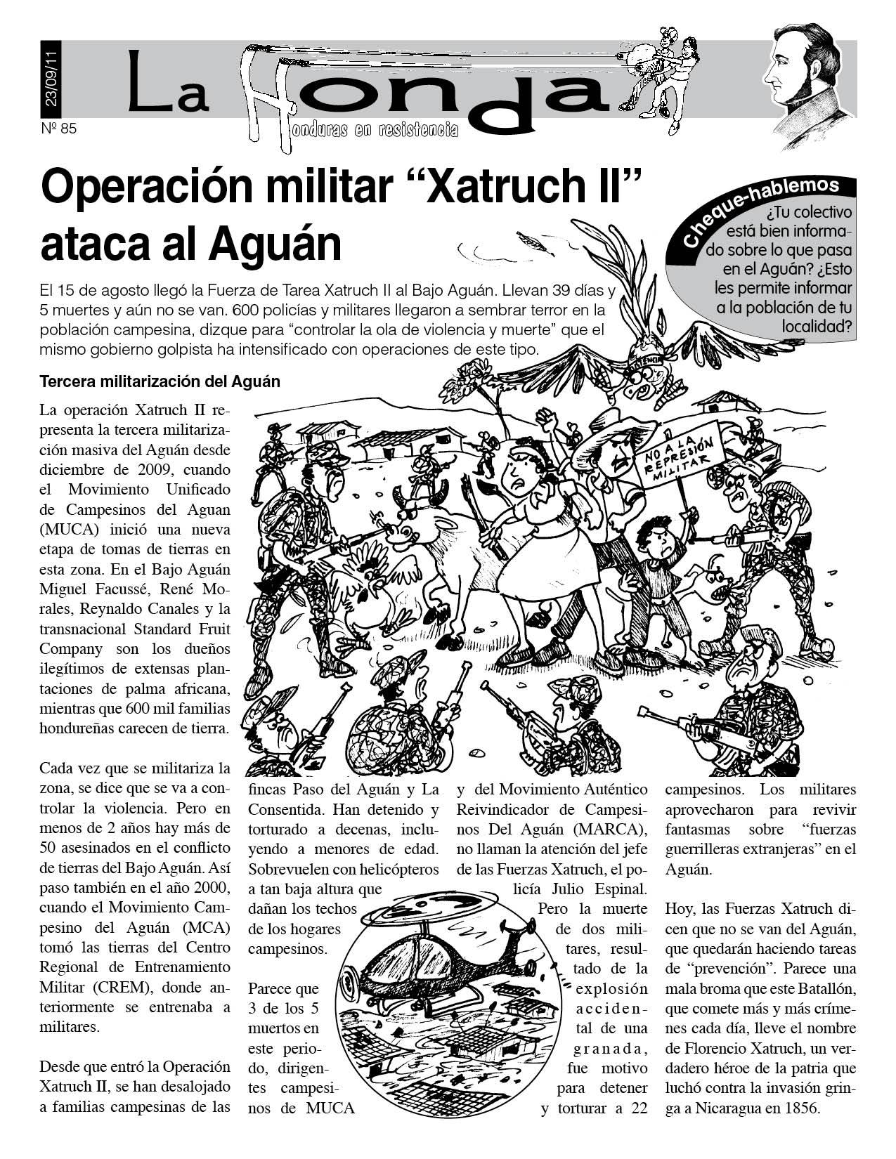 """La Honda 85: Operación militar """"Xatruch II"""" ataca al Aguán"""