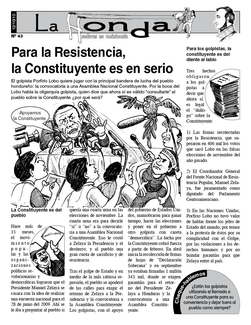 La Honda # 43 Para la Resistencia, la Constituyente es en serio