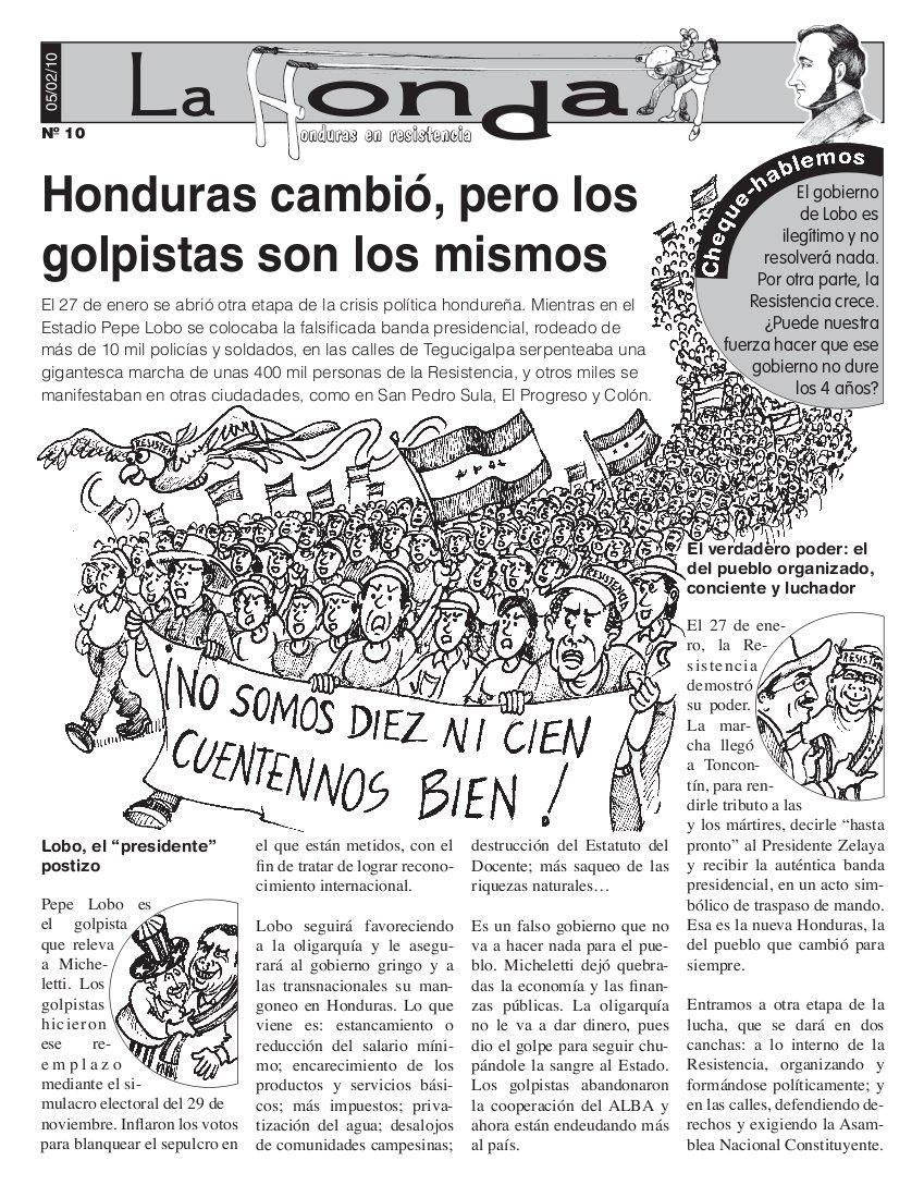 La honda Número 10 :Honduras cambio, pero los golpistas son los mismos