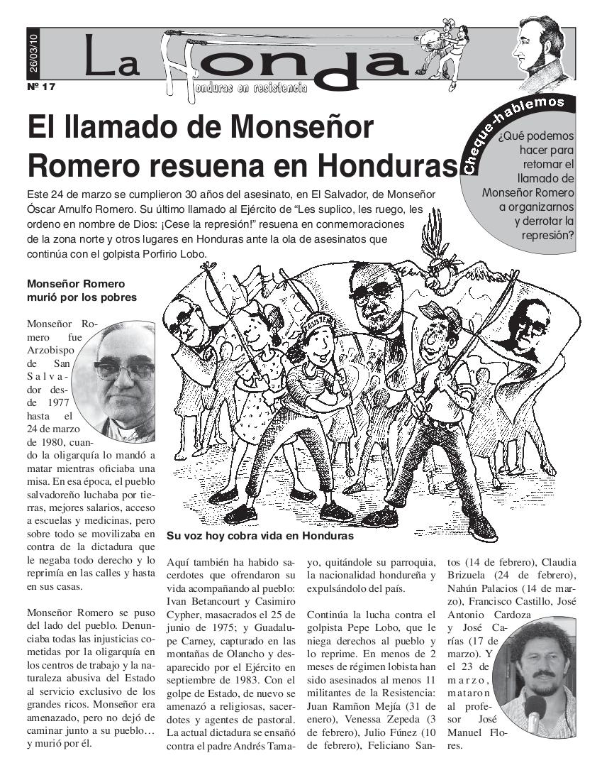 La Honda # 17: El llamado de Monseñor Romero resuena en Honduras