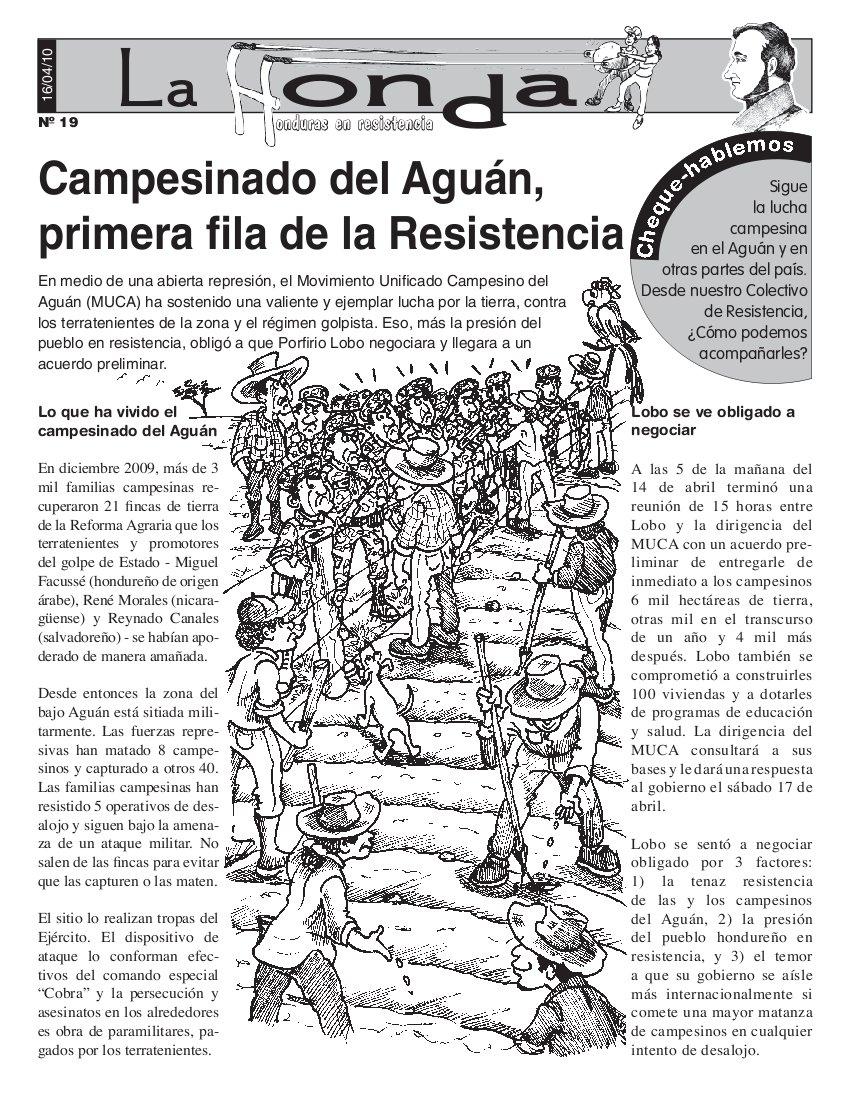 La Honda # 19: Campesinos del Aguán, primera Fila de Resistencia