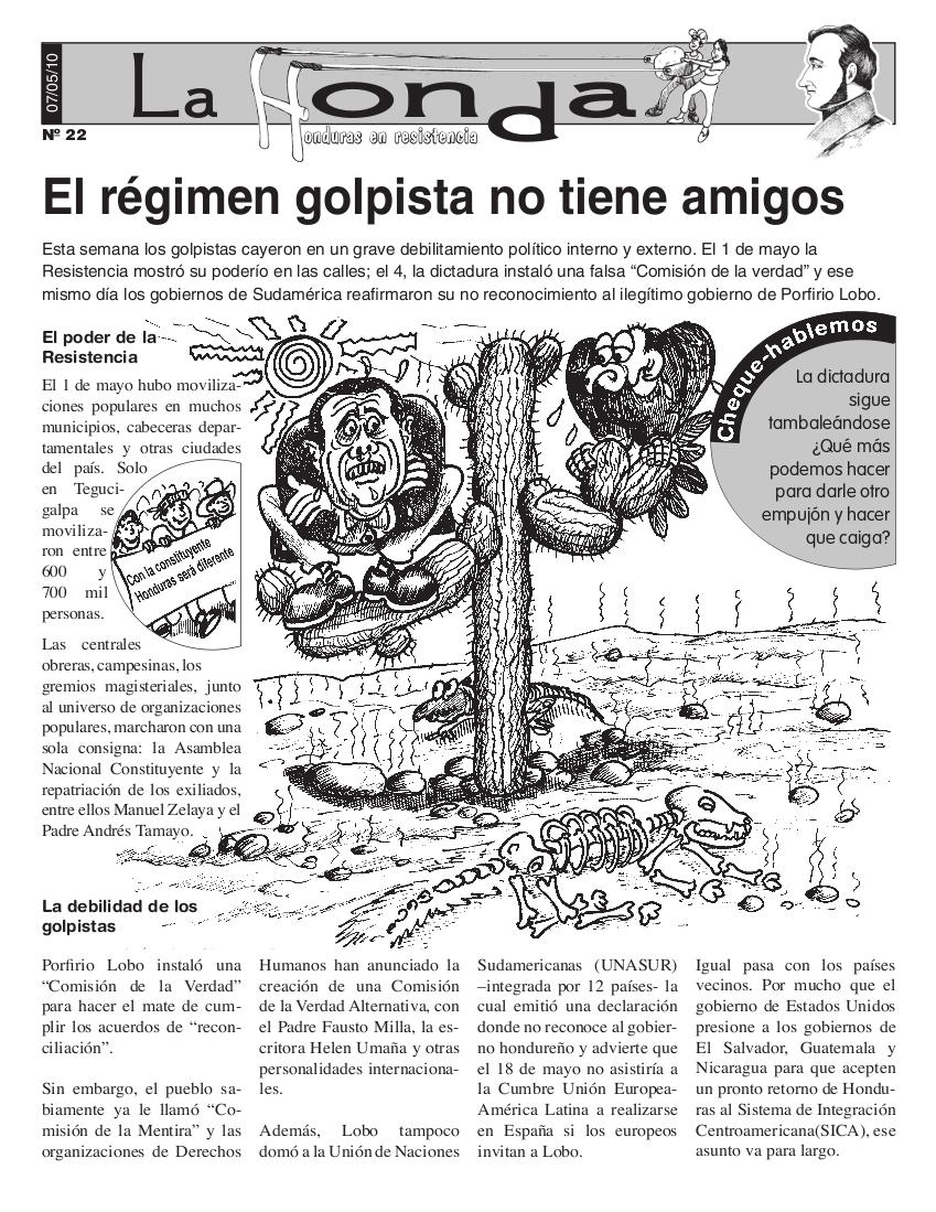 La Honda # 22: El Régimen Golpista No Tiene Amigos