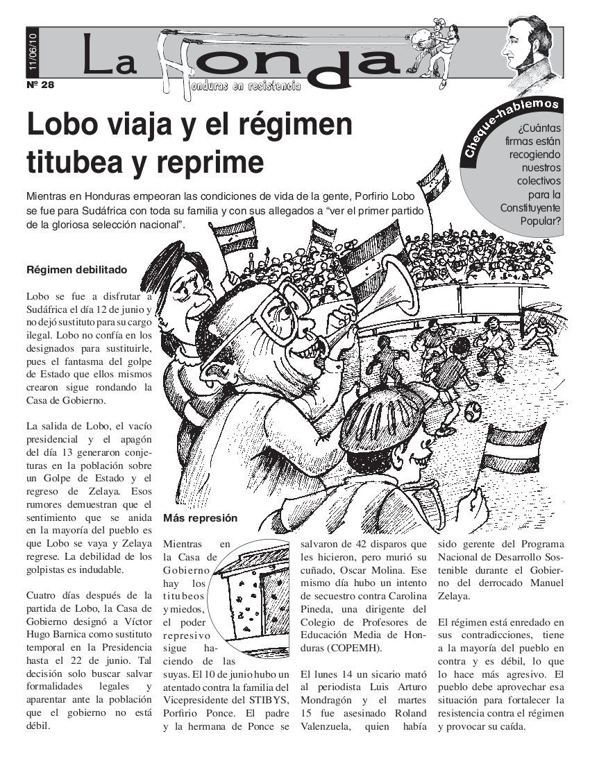 La Honda # 28 : Lobo viaja y el régimen titubea y reprime