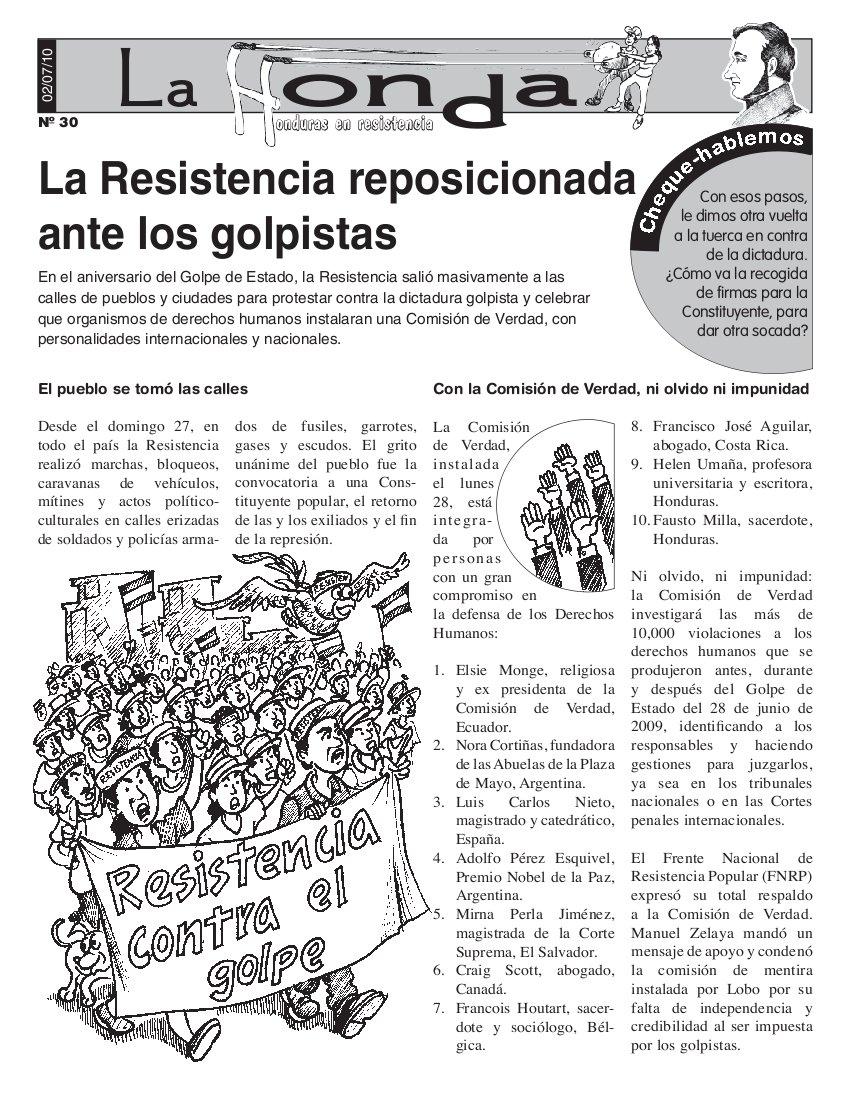 La Honda 30: La Resistencia reposicionada ante los golpistas