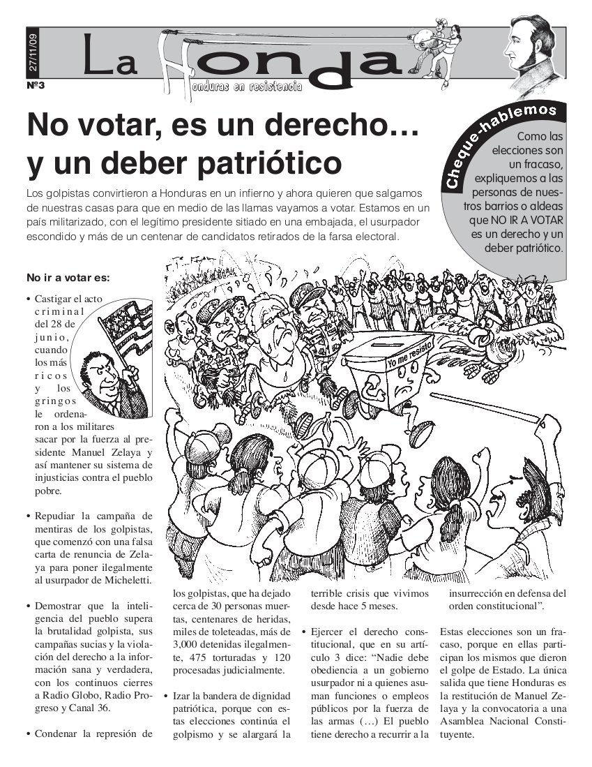 La honda Número 3 : No votar, es un derecho….. y un deber patriótico