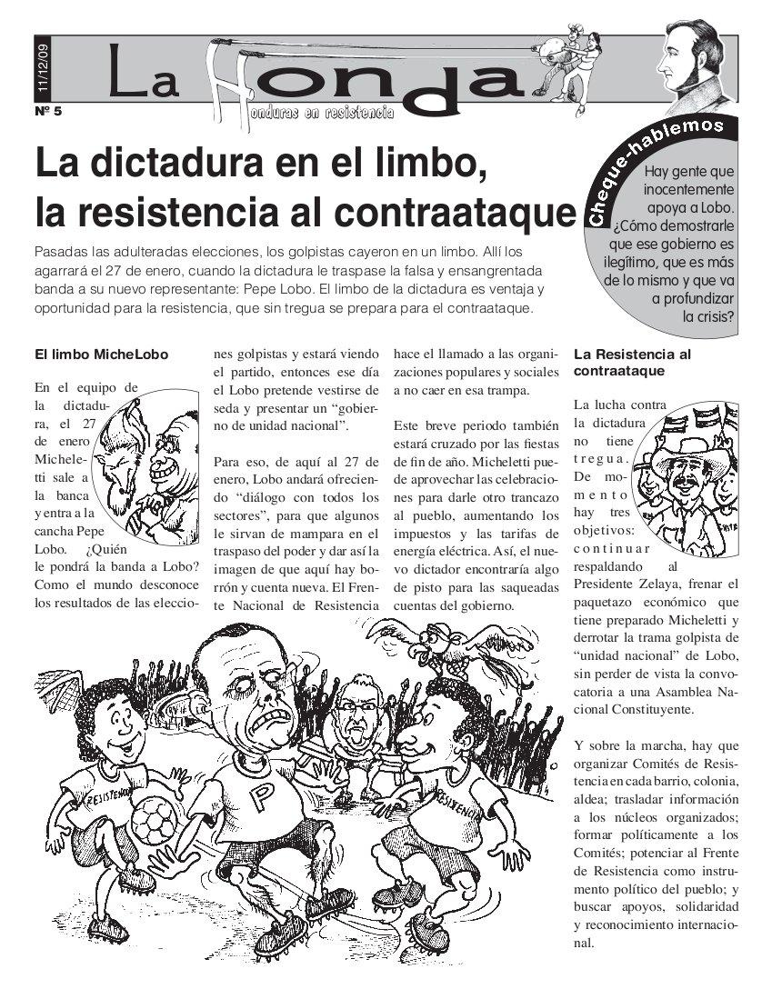 La honda # 5: La dictadura en el limbo, la resistencia al contraataque