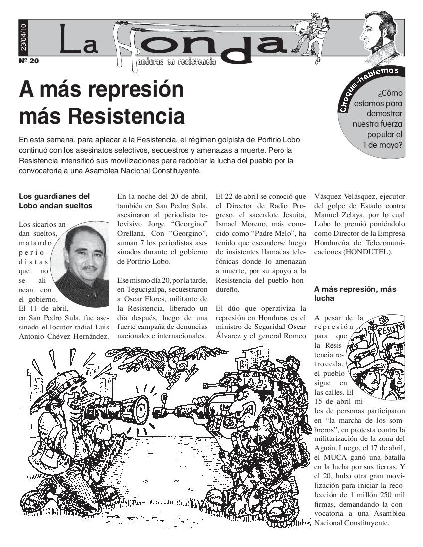 La Honda # 20 A más represión más Resistencia